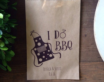 I DO BBQ Wedding Favor Bags - Engagment Party Favors - Printed Paper Utensil Holders, silverware wrap - flatwear bag- set of 25