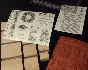 RARE & NEW 1997 Stampin' Up - Nature's Christmas 9-pc Stamp Set