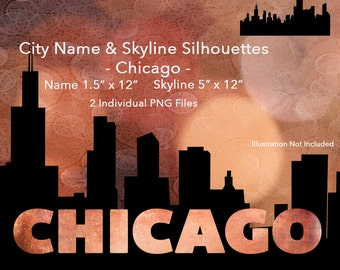 Digital Chicago City Name and Skyline Silhouettes-PNGs-DeeDoosDigital-INSTANT DOWNLOAD