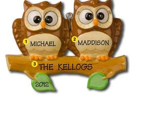Personalized Christmas Ornament Owl Family of Two, Twins, Couple's 1st Christmas-  -Free Personalization