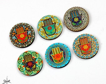 20% off - 6pcs Different 25mm 30mm Rounds Handmade Wooden Vintage  Collection Charms / Pendants (WN-B)