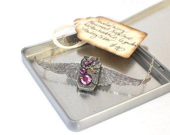 Steampunk Inspired Sterling Aviator Wing Necklace Vintage Watch Movement  with Swarovski Crystals #00143