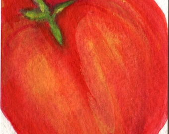 ACEO Original Red Bell Pepper Watercolor Painting Original, Art Card, Small Vegetable Painting, Pepper Art, small Farmhouse decor