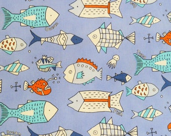 Japanese children Sevenberry fabric - Cotton - fish a blue background - Kawaii - by 50cm (110 x)