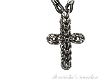 Mens jewelry Mens necklace Celtic Cross necklace chainmaille Cross pendant for men oxidized sterling silver black leather cool gift for him