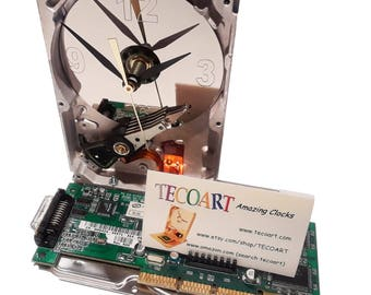 SALE 10% OFF! Business Card Holder Hard Drive Clock. Recycled Hard Drive, Unique Gadget, Geek Gifts for Men, Office Award, Office Gift Clock
