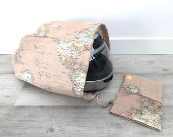 Funda Casco MARRÓN, bolsa casco, funda casco moto, bolsa porta casco, bolsa casco moto, bolsa casco, tela mapa, mapamundi, cartografía