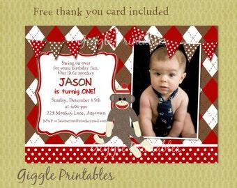 Sock Monkey Birthday Invitations - Sock Monkey Invitations - Monkey Birthday Party