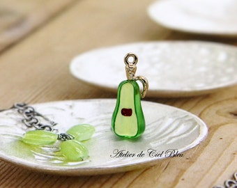Pear Charm, Tiny Gold Plated Acrylic Pear Charm, Pear Pendant, Fruit Charm, Food Charm , Acrylic Fruit Charm, Miniature Pear Charm