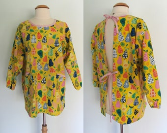 Yellow Painter's Smock with Pears,  Four Pockets, Long Sleeve Smock, Artist Apron, Full Coverage, Hand Picked Pears Organic Windham Fabric