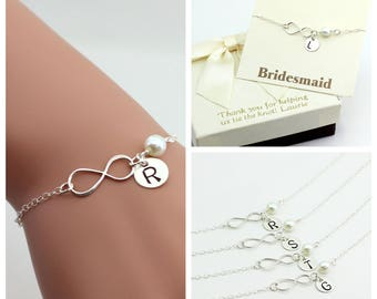 Free Shipping. Set of 4 Sterling Silver Infinity bracelets, monogram bracelet, personalized infinity bracelet, sterling silver infinity .