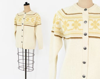 60s Yellow Knit Cardigan | Winter Wool Sweater | Meister Knit Austria | Medium