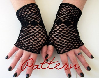 PDF Crochet Pattern Fishnet Fingerless Gloves With Diamonds Thread Crochet Pattern