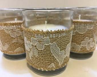 Set of 12 Beach Wedding Votive Candle Holders, Burlap Lace Votive Candle, Beach Wedding Table Decor, Wedding Candles, Votive Candle, Wedding