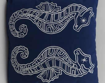 "Sea Horse Pillow Cover, Embroidery, Nautical Pillow, Beach decor, Decorative Pillow, Fits 18""x18"" Insert, Navy, Ready to ship"
