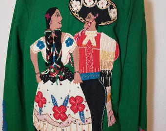 FREE  SHIPPING   1950  Mexican  Wool  Embroidered  Jacket