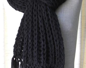 Classic Chunky RIB Hand Knit Scarf in BLACK Acrylic Vegan / Boyfriend scarf  / Gray,