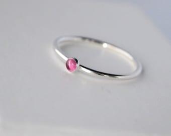 Pink Tourmaline Stacking Ring - October Birthstone Ring- Pink and Silver Ring - October Birthstone Jewellery - Pink Gemstone Ring