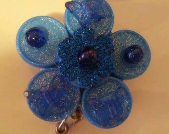 Blue butterfly name badge holder