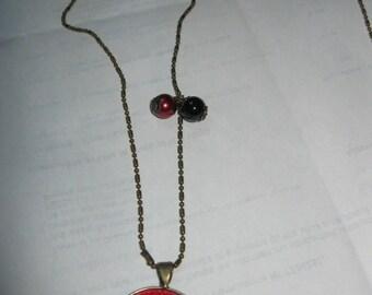 """Pendant necklace/retro/vintage bronze with glass cabochon 25mm """"cadeau.atsem.maitresse.maitre.ardoise.ecole.taches pen/ink/playground"""""""