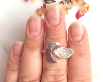 Clear Quartz Gemstone Ring. Clear Quartz Moon Ring. Boho Jewelry. Statement Ring.