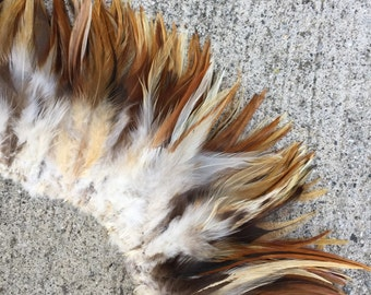 Saddle feathers, ginger mix, natural rooster feathers, length 4 to 6 inches, chicken, brown, tan