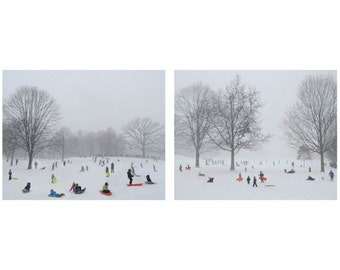 New York Photograph - Winter Family Fun - Sled Ride - Fun In The Snow - Kids Sledding - New York Snowy Winter -  Set Of 2 Nature Photographs