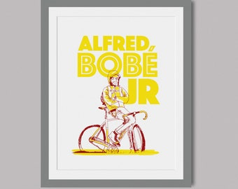 Alfred Bobe Jr - Limited Edition screen print of 5 - A3 paper - cycling theme