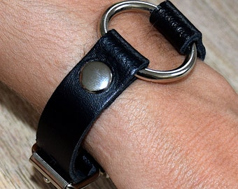 Slim SM Strap Leather necklace bracelets with Rundring black bdsm fetish Gothic