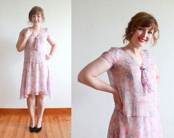 vintage 1920s dress | 20s sheer silk floral garden party frock | size m - l