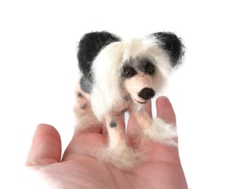 Custom Dog figurine, needle felted Chinese Crested Dog - needle felted origonal puppy soft sculpture -  small size