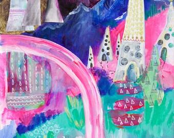 Abstract Art Print, Mixed Media Artwork, Abstract Landscape, Hipster Wall Art, Modern Home Decor, Boho Artwork, Wanderlust Print