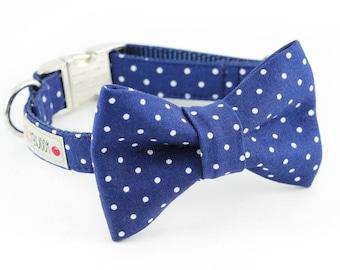 Navy Dot Bowtie Dog Collar