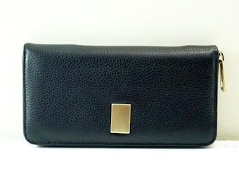 "Womens wallet ""Kira"" in black, genuine leather, wallet, purse, portmonee, portemonnaie, handmade, new"