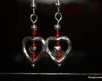 Heart Earrings with Ruby Red Seed beads