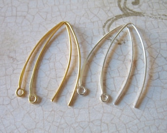 1-25 pairs, French Hook Ear Wires Earrings Earwires, Bali Artisan / 35x15 mm, 925 Sterling Silver or 24k Gold Vermeil / hp SOLO fhe.s v2