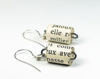 Paper Bead Earrings- Upcycled French Paper Bead Jewelry, French Jewelry, Book Jewelry, Paper Jewelry by Tanith Rohe