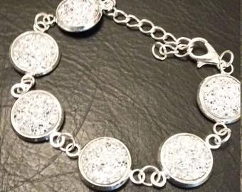 Silver faux druzy sparkly bracelet