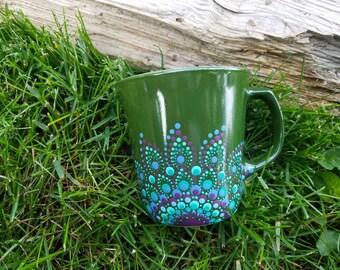 Green purple teal mandala mug, green mandala mug, Mandala mug, dot art mandala mug, Mandala mugs, Mandala polkadot mug, mandala gift