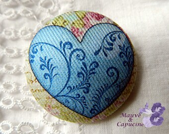 Fabric button,  printed blue heart,  0.94 in  / 24 mm