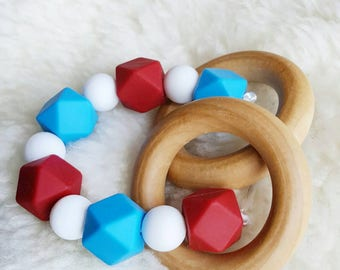 Teething Ring, 4th of July Silicone Teether, Wooden Teether, BPA Free Teether, Silicone Bead Teether, Baby Teether, Baby Shower Gift