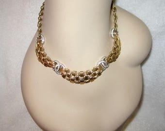 1950's Boucher Necklace Gold Plated Crystal Rhinestone Weave Signed Vtg Superb!