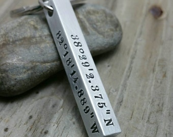 Coordinates Keychain - Bar Keychain - Latitude Longitude Keychain - Stamped Keychain - GPS Coordinates - Aluminum Bar Keychain