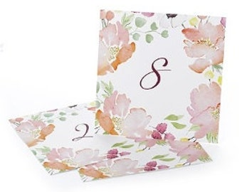 Floral Table Number Cards for Wedding Reception and Parties (1-40)