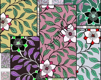 Digital Printable Collage Sheet 1 X 2 Inch Pendant Size Dominoes Scrapbooking Floral Gorgeous Colors Instant Download CS 110