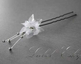 Silver Flower bridal hair stick