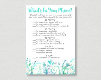 Nautical Beach What's In Your Phone Game / Beach Bridal Shower / Seashell Bridal Shower / Watercolor Seashells / INSTANT DOWNLOAD B103