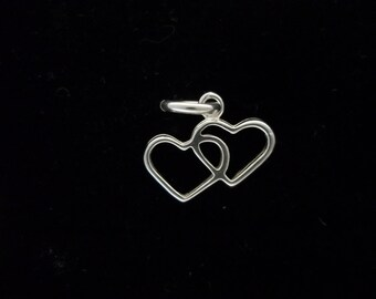 Double Heart Charm, Solid Sterling Silver: Heavy Double Heart Pendant