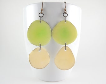 Green Tea and Off White Tagua Nut Eco Friendly Earrings with Free USA Shipping #taguanut #ecofriendlyjewelry