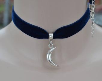 CRESCENT MOON NAVY Blue Velvet Choker, 30 Ribbon Colours, Handmade 16mm